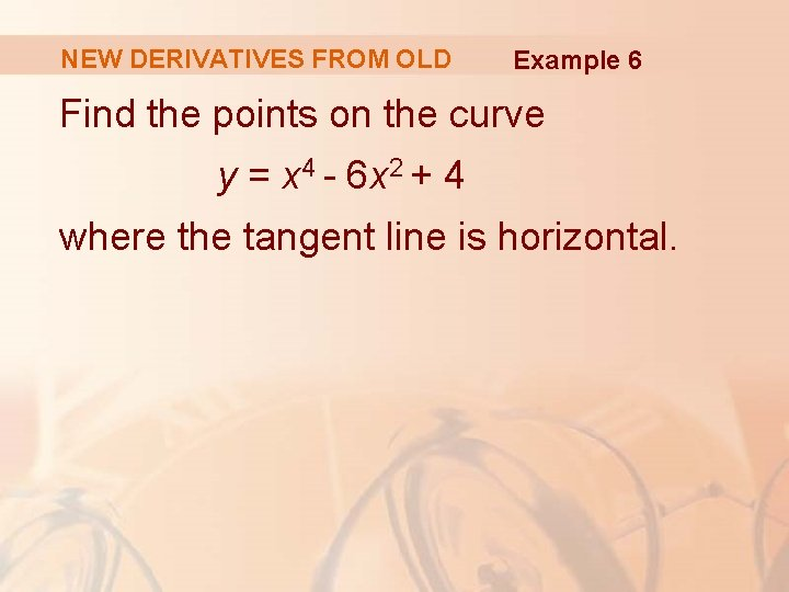 NEW DERIVATIVES FROM OLD Example 6 Find the points on the curve y =