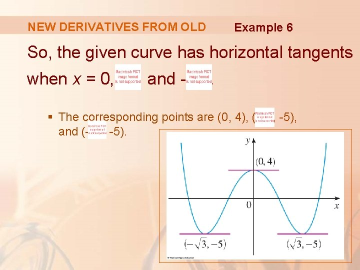 NEW DERIVATIVES FROM OLD Example 6 So, the given curve has horizontal tangents when