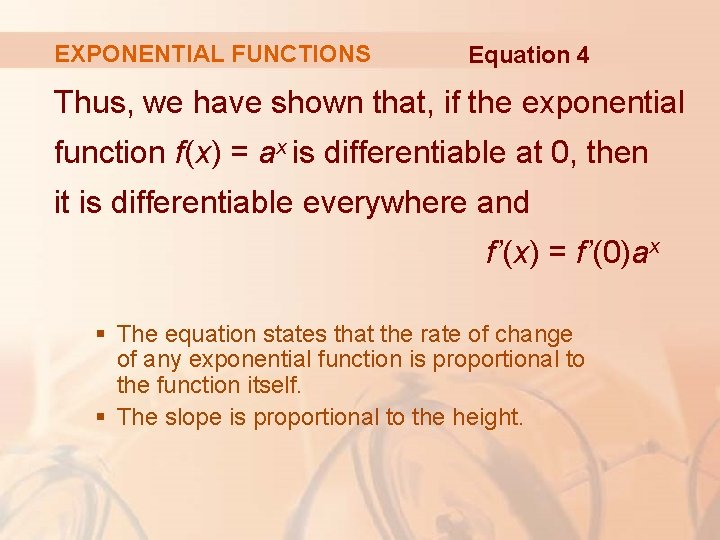 EXPONENTIAL FUNCTIONS Equation 4 Thus, we have shown that, if the exponential function f(x)