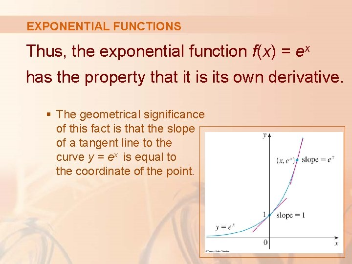 EXPONENTIAL FUNCTIONS Thus, the exponential function f(x) = ex has the property that it