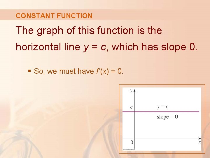 CONSTANT FUNCTION The graph of this function is the horizontal line y = c,