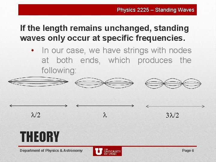 Physics 2225 – Standing Waves If the length remains unchanged, standing waves only occur