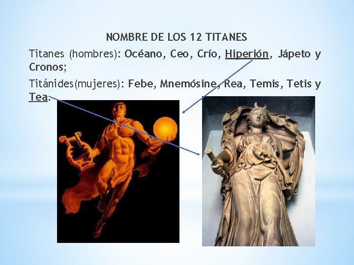 NOMBRE DE LOS 12 TITANES Titanes (hombres): Océano, Ceo, Crío, Hiperión, Jápeto y Cronos;