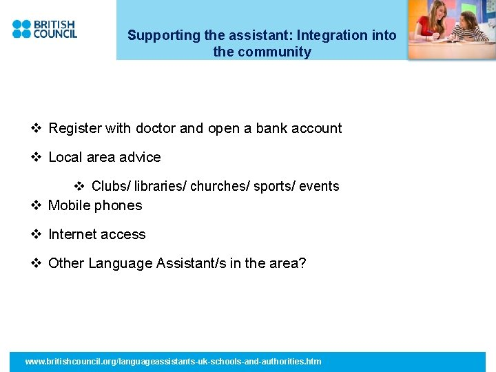 Supporting the assistant: Integration into the community v Register with doctor and open a