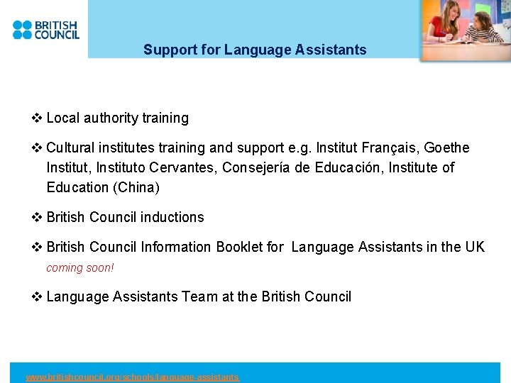 Support for Language Assistants v Local authority training v Cultural institutes training and support