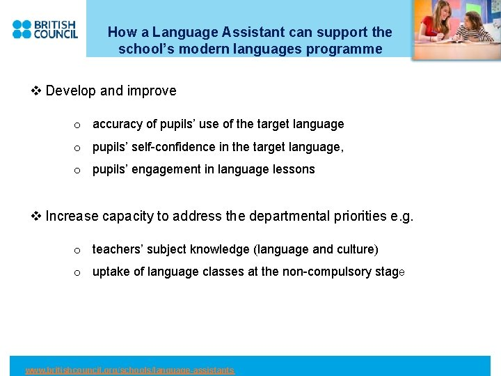 How a Language Assistant can support the school's modern languages programme v Develop and