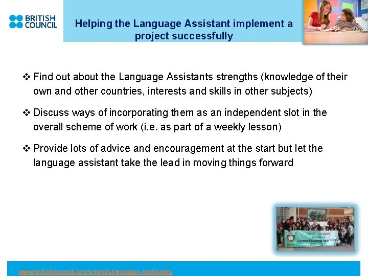 Helping the Language Assistant implement a project successfully v Find out about the Language