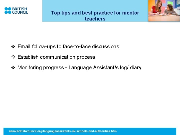 Top tips and best practice for mentor teachers v Email follow-ups to face-to-face discussions