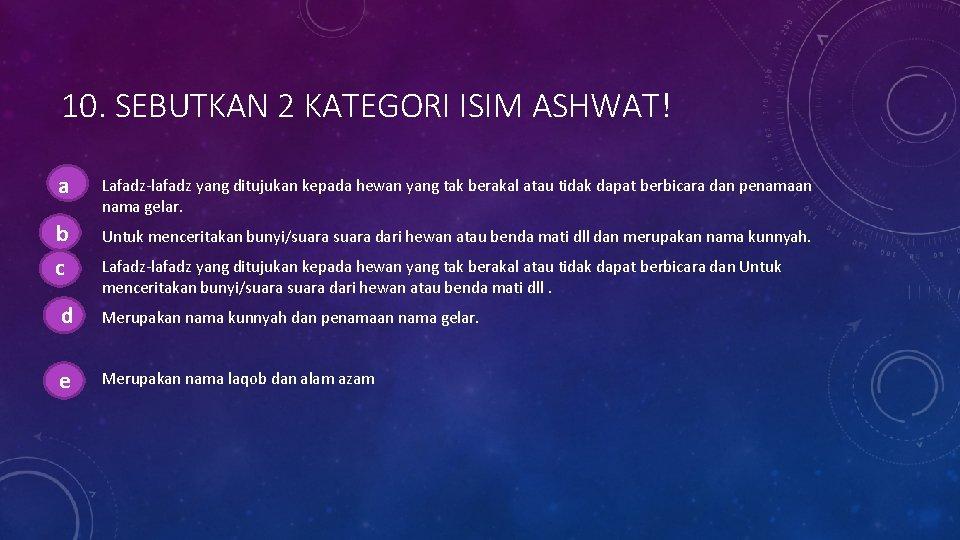 10. SEBUTKAN 2 KATEGORI ISIM ASHWAT! aa. Lafadz-lafadz yang ditujukan kepada hewan yang tak