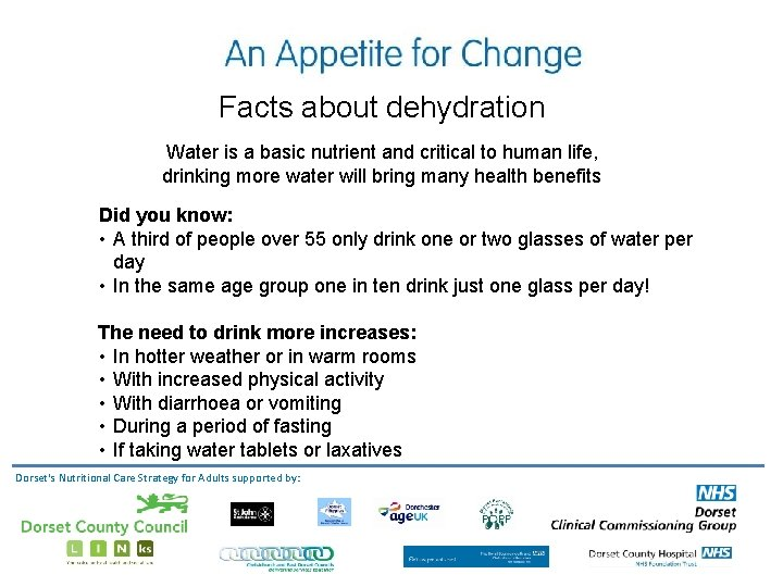 Facts about dehydration Water is a basic nutrient and critical to human life, drinking