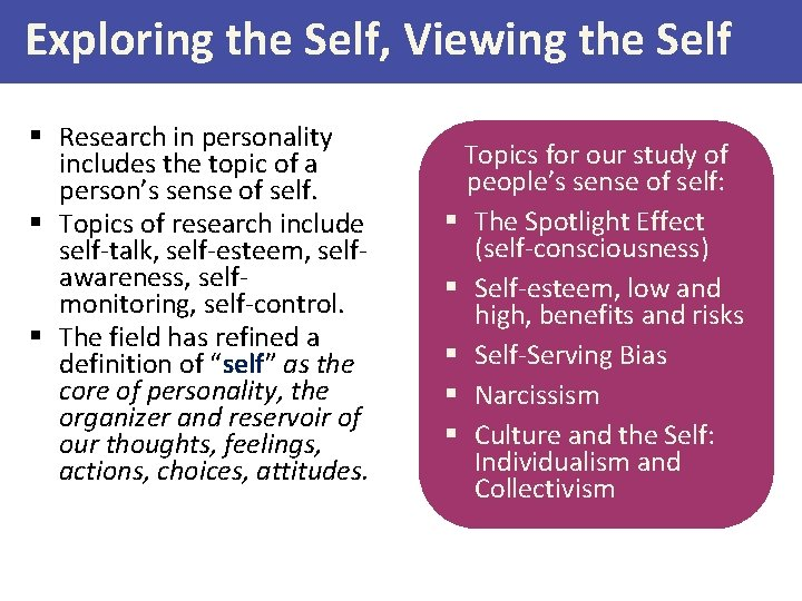 Exploring the Self, Viewing the Self § Research in personality includes the topic of