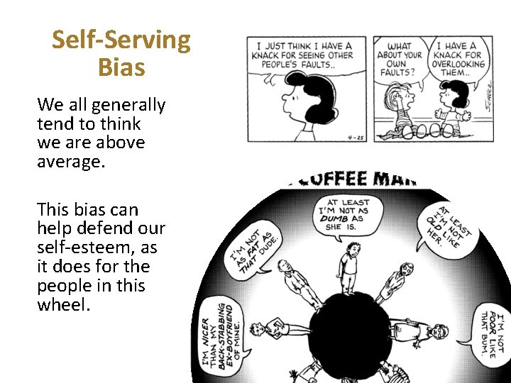 Self-Serving Bias We all generally tend to think we are above average. This bias