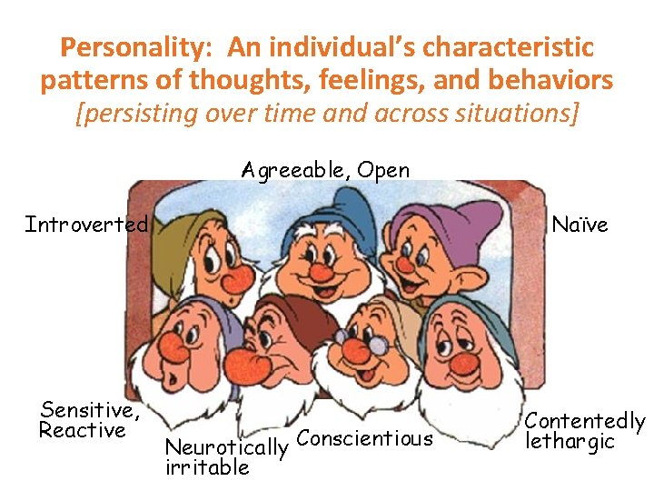 Personality: An individual's characteristic patterns of thoughts, feelings, and behaviors [persisting over time and