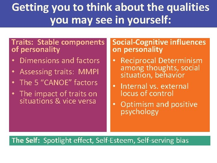 Getting you to think about the qualities you may see in yourself: Traits: Stable