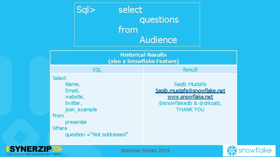 Sql> select questions from Audience Historical Results (also a Snowflake Feature) SQL Result Select