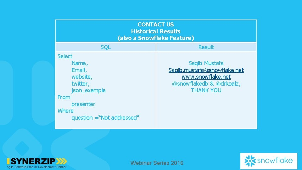 CONTACT US Historical Results (also a Snowflake Feature) SQL Result Select Name, Email, website,