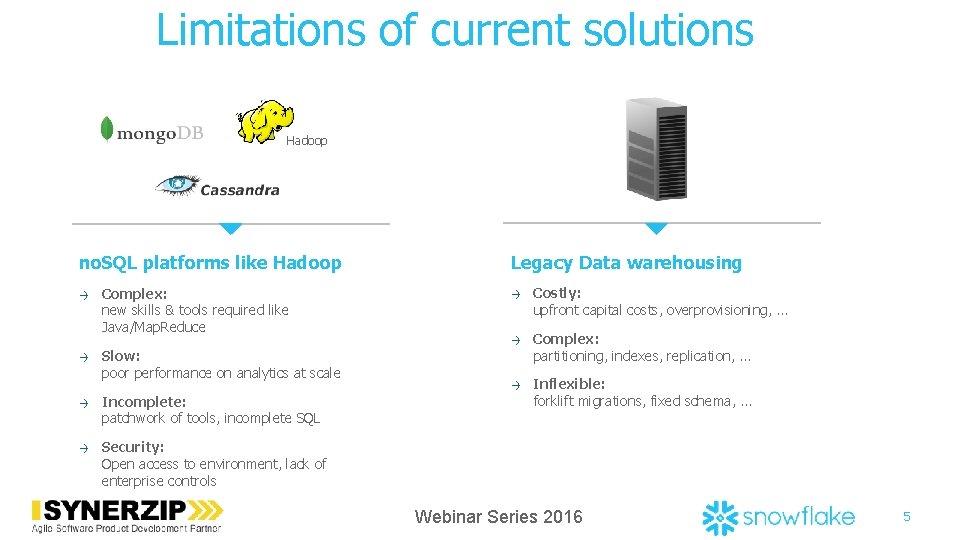 Limitations of current solutions Hadoop no. SQL platforms like Hadoop → → Complex: new