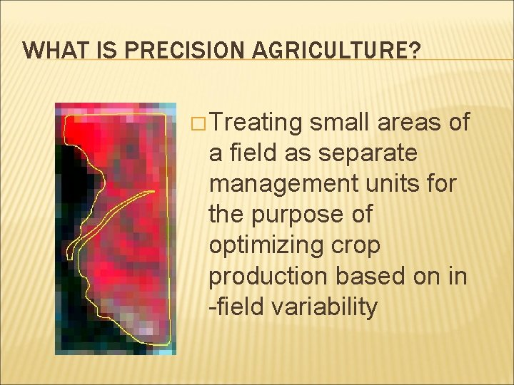 WHAT IS PRECISION AGRICULTURE? � Treating small areas of a field as separate management