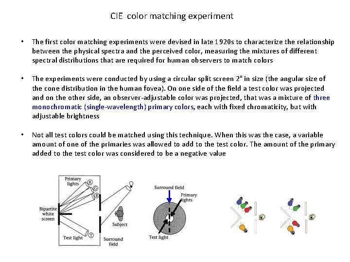 CIE color matching experiment • The first color matching experiments were devised in