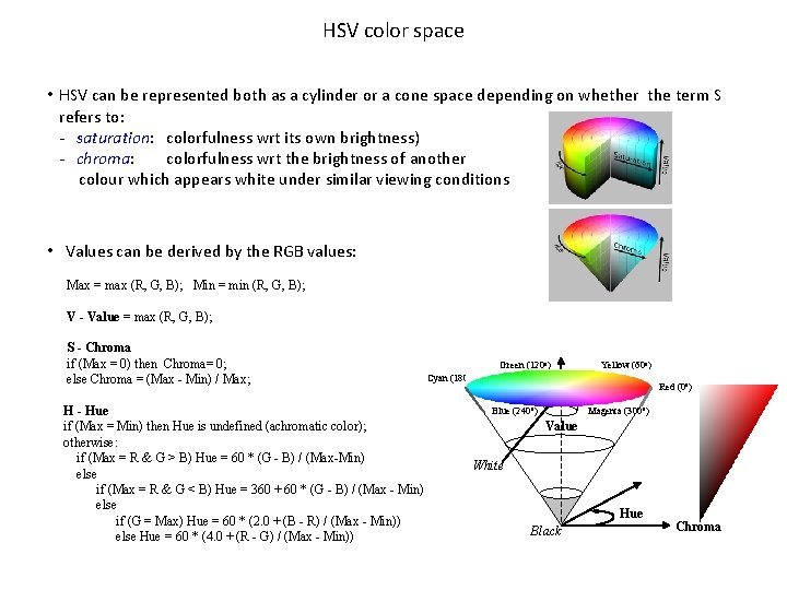 HSV color space • HSV can be represented both as a cylinder or a