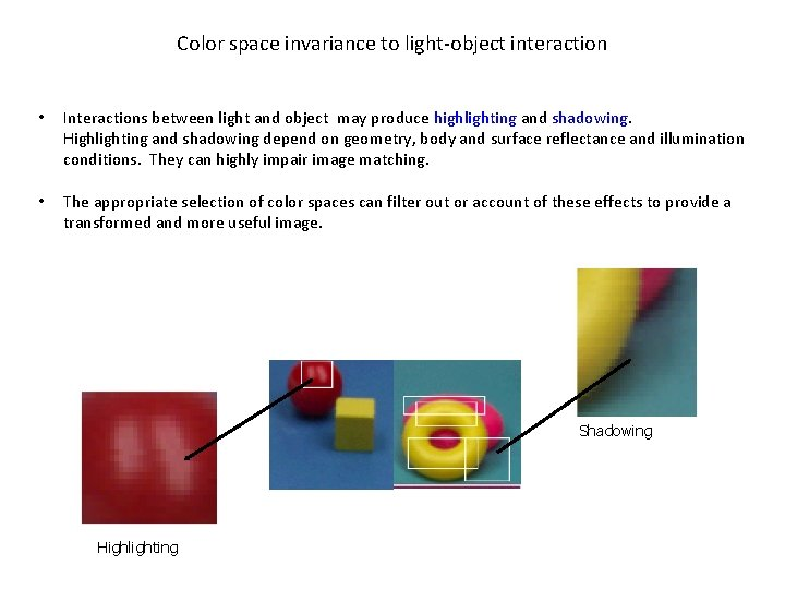 Color space invariance to light-object interaction • Interactions between light and object may produce
