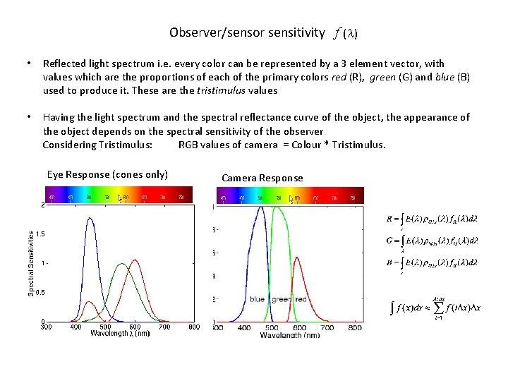 Observer/sensor sensitivity f ( ) • Reflected light spectrum i. e. every color can