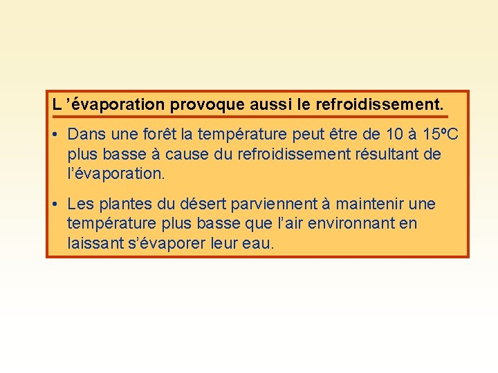 L 'évaporation provoque aussi le refroidissement. • Dans une forêt la température peut être