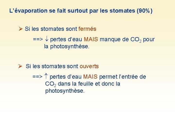 L'évaporation se fait surtout par les stomates (90%) Si les stomates sont fermés ==>