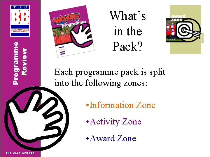 Programme Review What's in the Pack? Each programme pack is split into the following