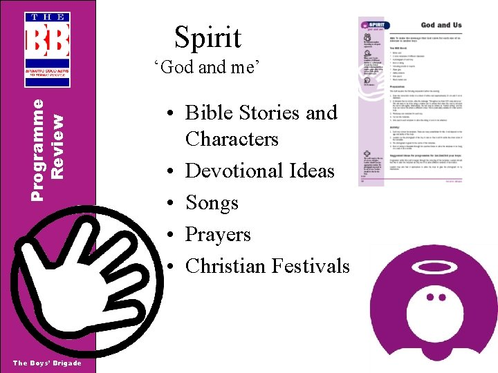 Spirit Programme Review 'God and me' The Boys' Brigade • Bible Stories and Characters
