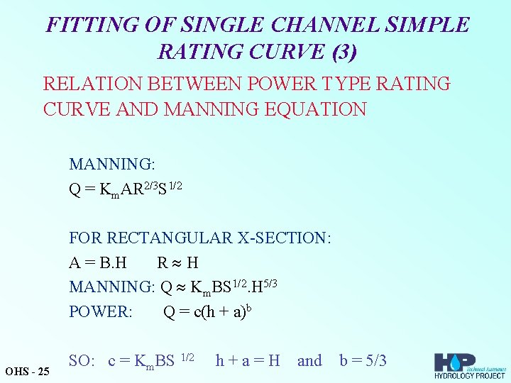 FITTING OF SINGLE CHANNEL SIMPLE RATING CURVE (3) RELATION BETWEEN POWER TYPE RATING CURVE
