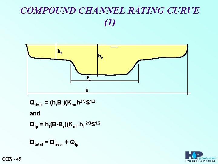 COMPOUND CHANNEL RATING CURVE (1) hf hr Br B Qriver = (hr. Br)(Kmrh 2/3