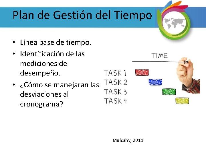 Plan de Gestión del Tiempo • Línea base de tiempo. • Identificación de las