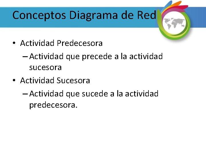 Conceptos Diagrama de Red • Actividad Predecesora – Actividad que precede a la actividad