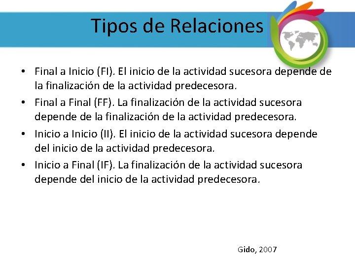 Tipos de Relaciones • Final a Inicio (FI). El inicio de la actividad sucesora