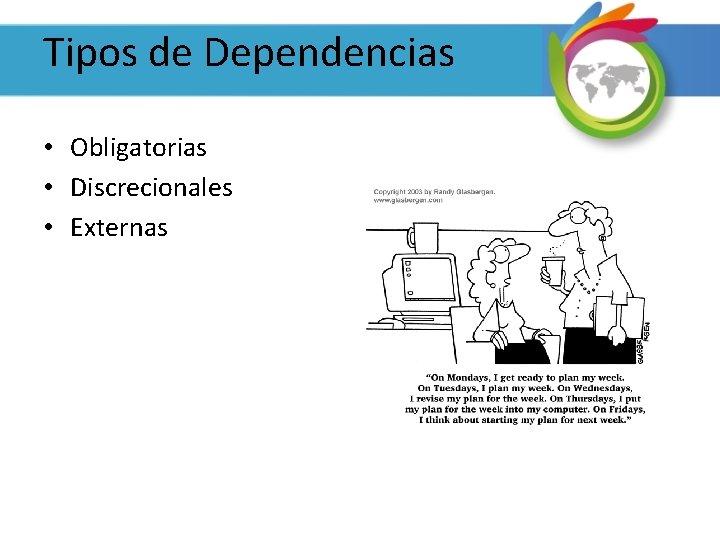 Tipos de Dependencias • Obligatorias • Discrecionales • Externas