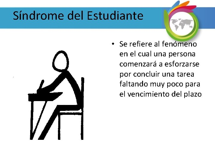 Síndrome del Estudiante • Se refiere al fenómeno en el cual una persona comenzará