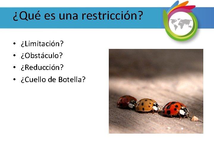 ¿Qué es una restricción? • • ¿Limitación? ¿Obstáculo? ¿Reducción? ¿Cuello de Botella?