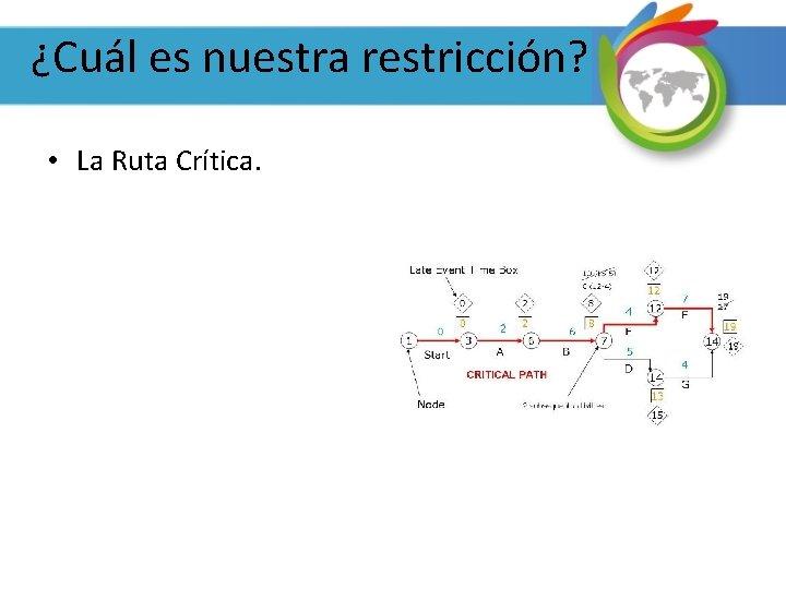 ¿Cuál es nuestra restricción? • La Ruta Crítica.