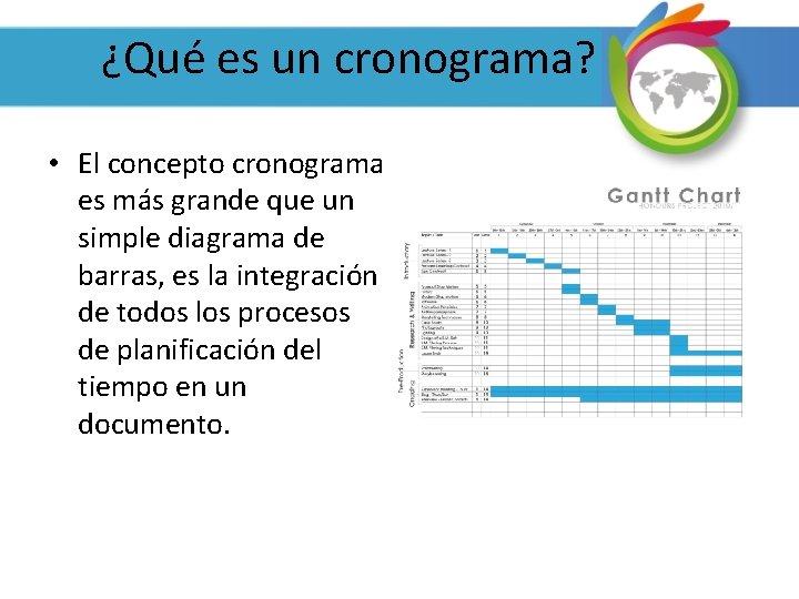 ¿Qué es un cronograma? • El concepto cronograma es más grande que un simple