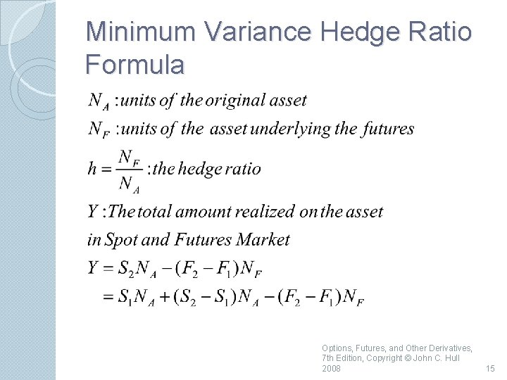 Minimum Variance Hedge Ratio Formula Options, Futures, and Other Derivatives, 7 th Edition, Copyright