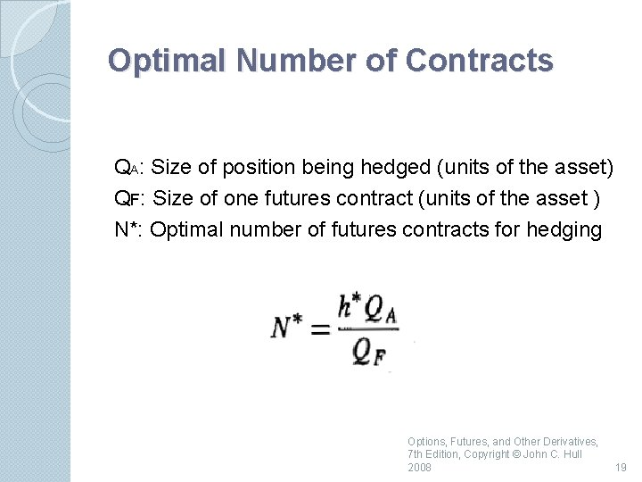 Optimal Number of Contracts QA: Size of position being hedged (units of the asset)