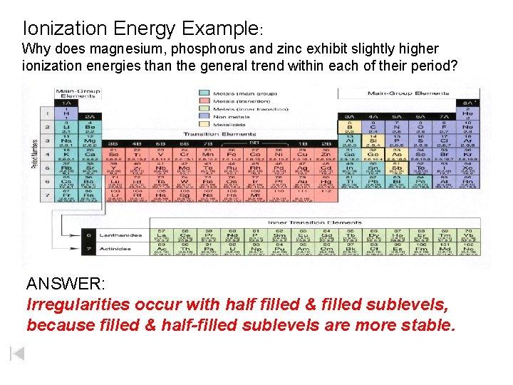 Ionization Energy Example: Why does magnesium, phosphorus and zinc exhibit slightly higher ionization energies