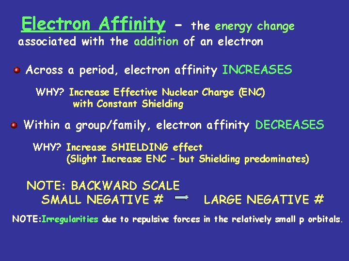 Electron Affinity - the energy change associated with the addition of an electron Across