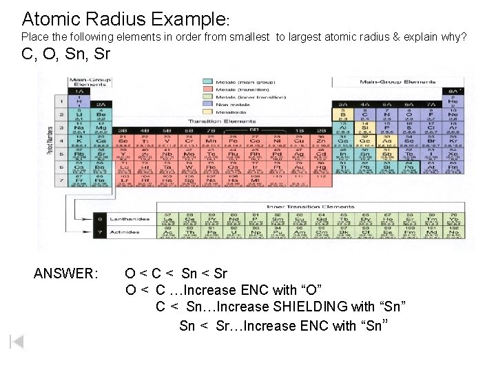 Atomic Radius Example: Place the following elements in order from smallest to largest atomic