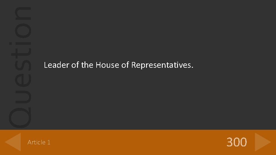Question Leader of the House of Representatives. Article 1 300