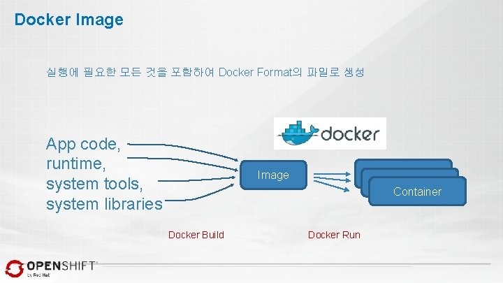 Docker Image 실행에 필요한 모든 것을 포함하여 Docker Format의 파일로 생성 App code, runtime,