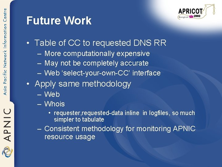 Future Work • Table of CC to requested DNS RR – More computationally expensive