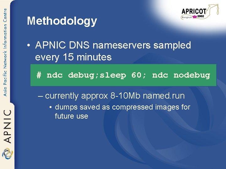 Methodology • APNIC DNS nameservers sampled every 15 minutes # ndc debug; sleep 60;