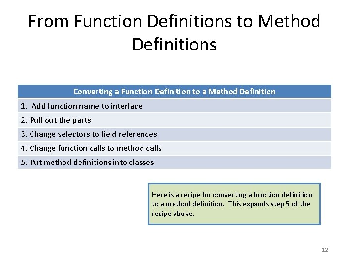 From Function Definitions to Method Definitions Converting a Function Definition to a Method Definition